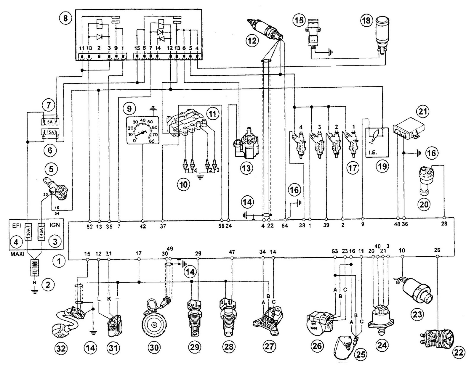 esquemas el u00e9ctricos  ecu magnetti marelli iab pin out