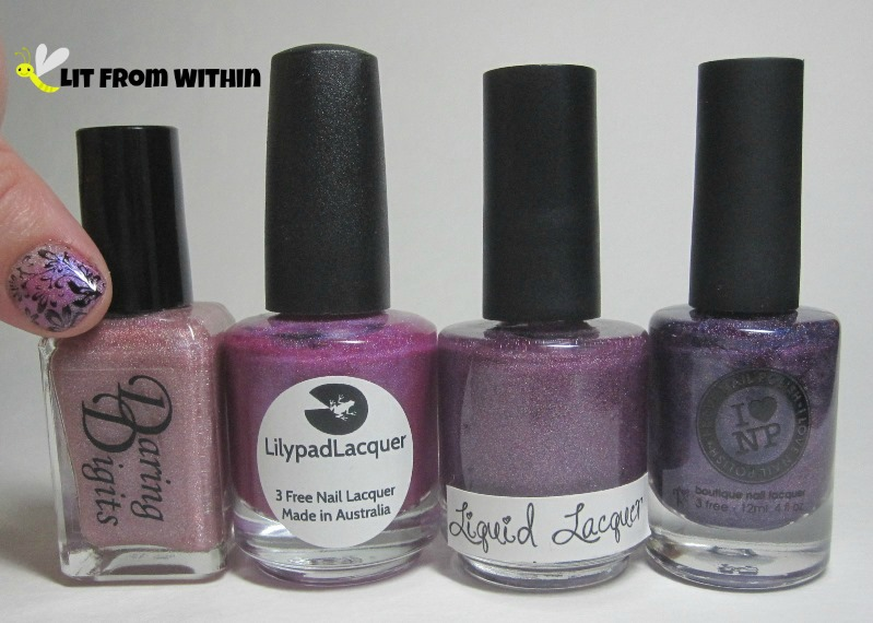 Bottle shot:  Daring Digits [unknown], Lilypad Lacquer Blooming Violets, Liquid Lacquer Houses of The Holy, and I Love Nail Polish Amanda Hugginkiss. (Not pictured: Wet 'n Wild Black Creme, and Cult Nails Nevermore.)