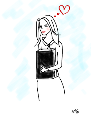 School Girl Carrying Text Book Cartoon Image