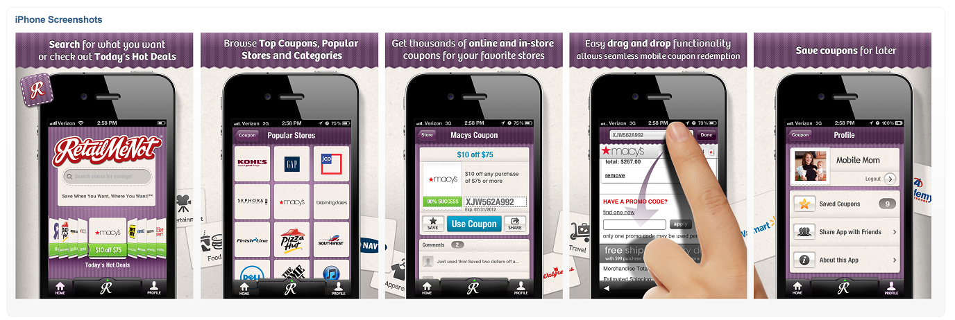 Retail coupon app for iphone