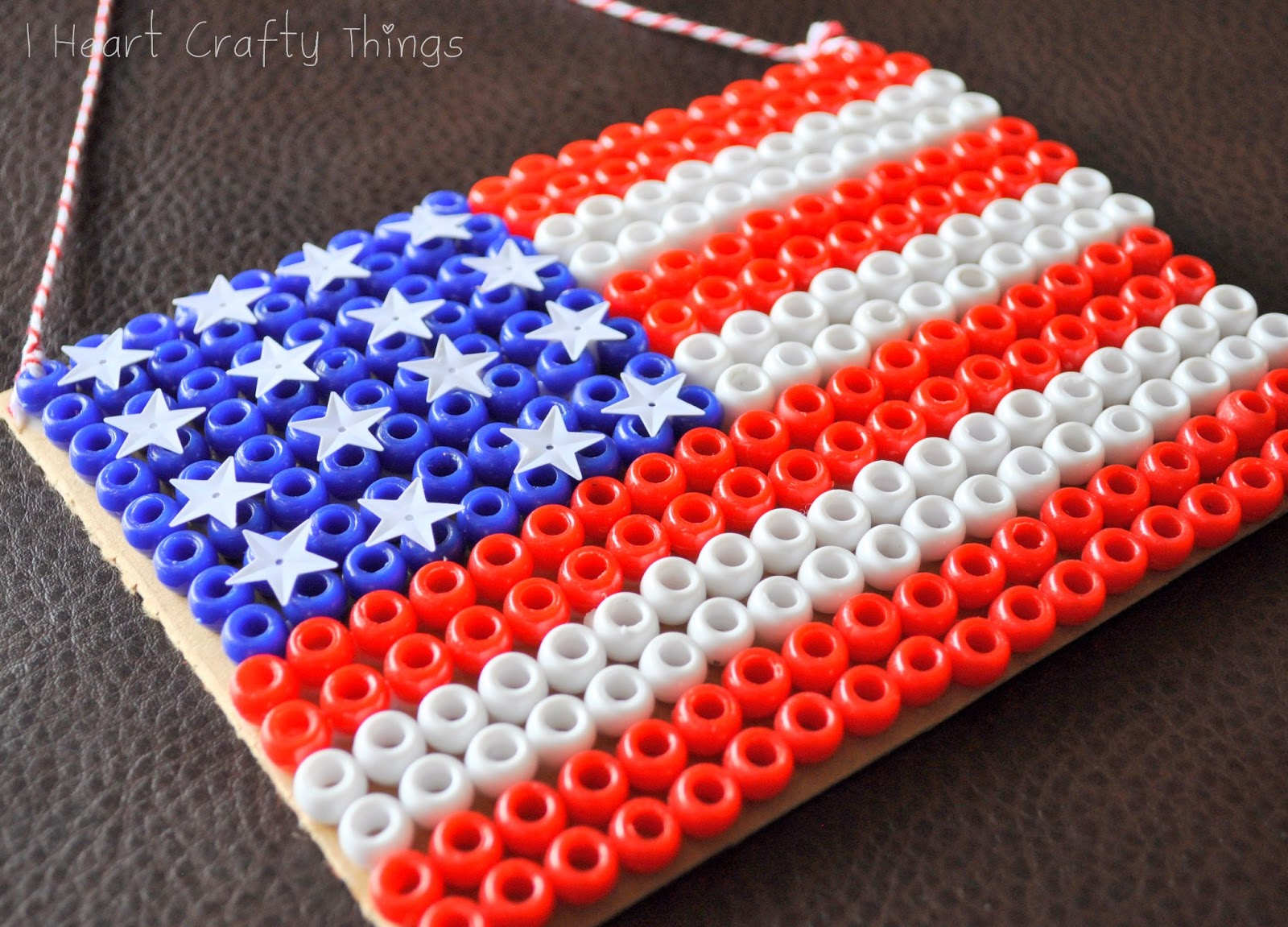 Pony bead flag craft i heart crafty things for Bead craft ideas for kids