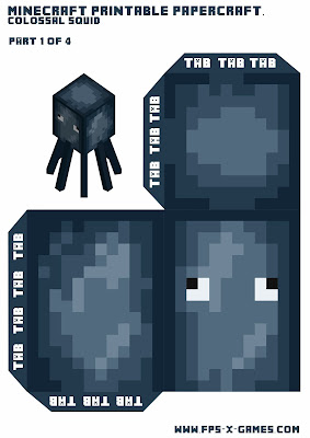 Large printable Minecraft squid template 1 of 4