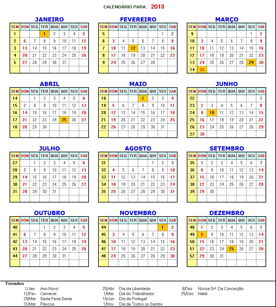 ... jpeg 780kB, Shuri's Online: Calendário 2013 com feriados Portugal