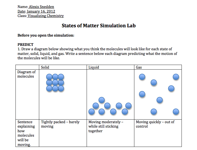 Chemistry Activity 6 States of Matter and Intermolecular Forces – Intermolecular Forces Worksheet