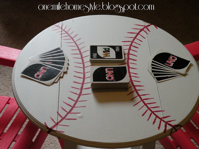 Refinished baseball themed table