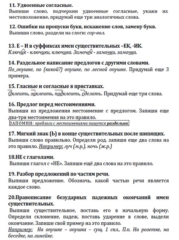 работа над ошибками по русскому языку: