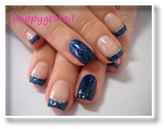 french bleu marine paillett happy gel nail. Black Bedroom Furniture Sets. Home Design Ideas