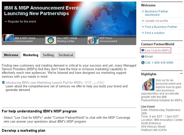 IBM MSP Marketing Launch Pad
