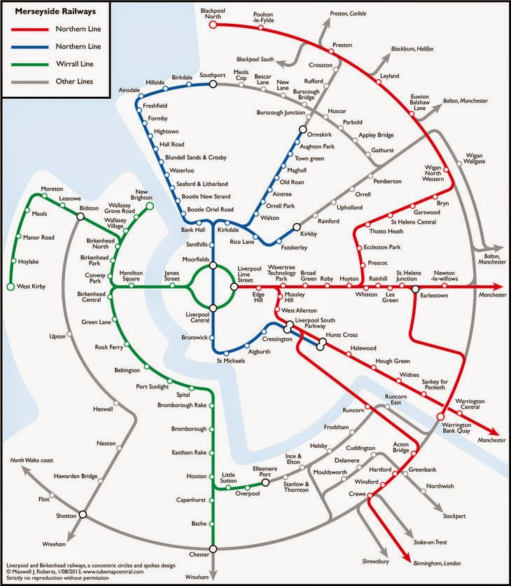 Merseyrail Liverpool Train Map - circular design