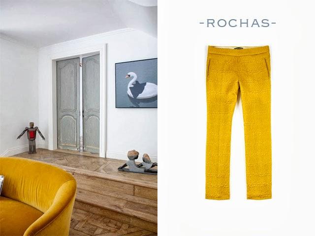 pantalon rochas moutarde