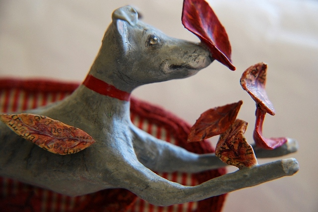 Custom made whippet brooch by Vanessa Cabban