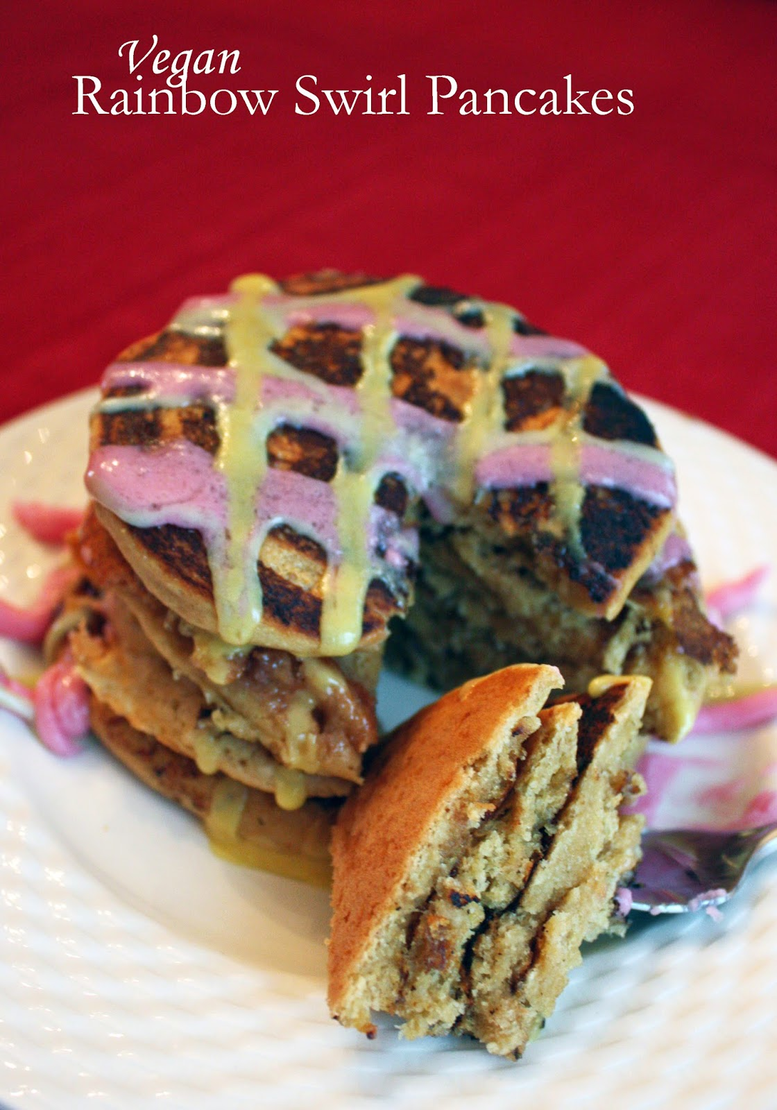 vegan rainbow swirl pancakes
