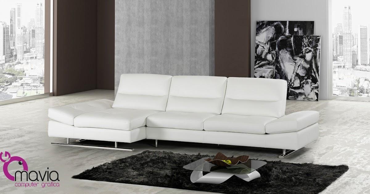 Arredamento di interni divano moderno in pelle bianca for Arredamento di interni