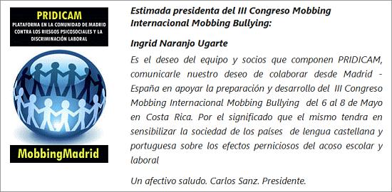 MobbingMadrid Apoyamos al III Congreso Internacional Mobbing Bullying en Costa Rica
