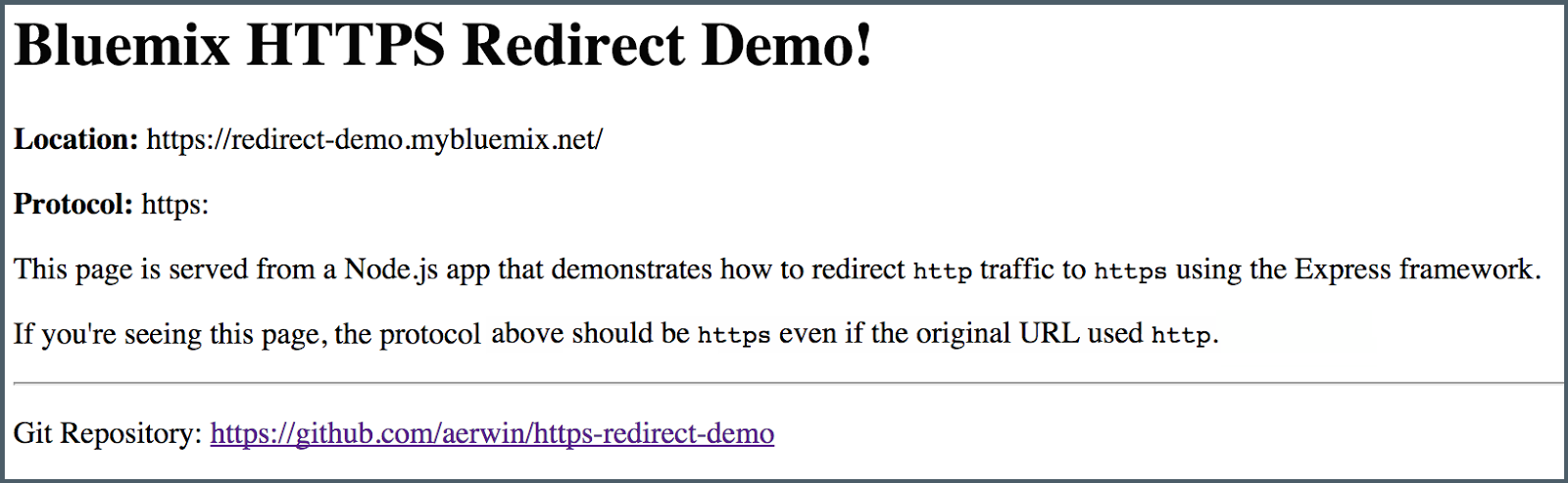 Screenshot of HTTPS Redirect Demo