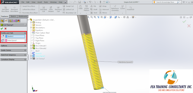 sweep cut feature solidworks