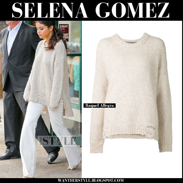 Selena Gomez in cream oversized Raquel Allegra sweater and white flared pants fall streetstyle what she wore