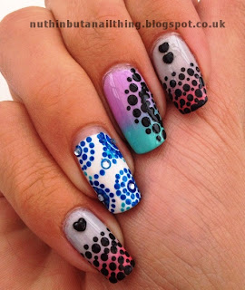 gradient polka dot nails