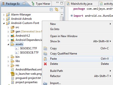 Aplikasi Android dengan Custom Font, Memakai Fonts Lain Bawaan Sendiri