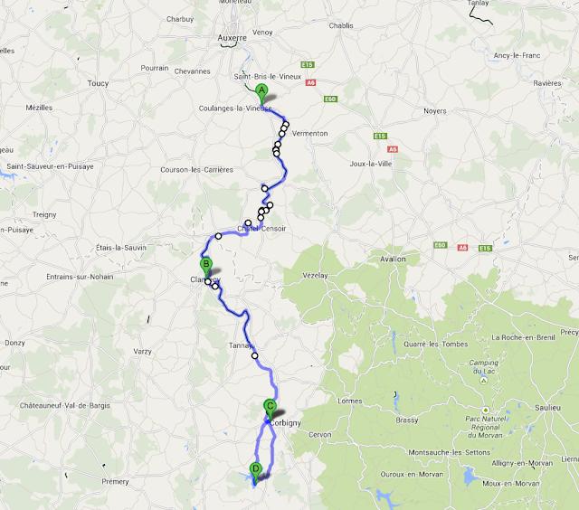 itinéraire vélo canal du nivernais vincelles chitry-les-mines