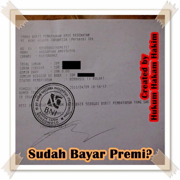 slip Bukti Bayar Premi BPJS Kesehatan saat pertama kali daftar sebagai peserta di BNI 46