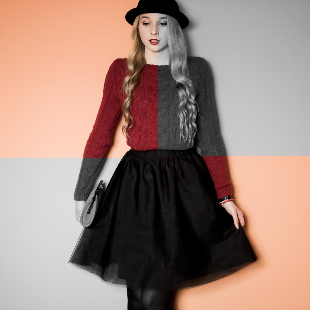 blond blogerka modowa urodowa kosmetyczna czerwony sweter z warkoczami spódnica rozkloszowana kapelusz