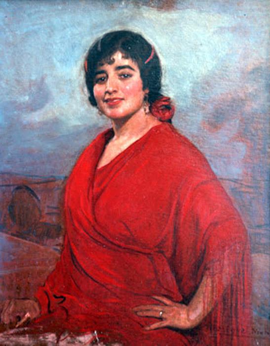 Retrato de Trinidad Carretero con mantón de flecos, Anselmo Miguel Nieto, Pintura Española, Pintores Españoles, Pintor Español