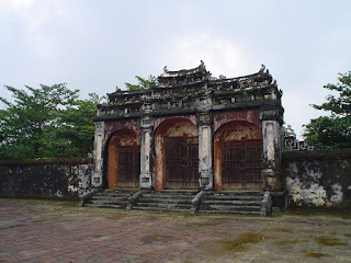 Door and monuments Minh Mang Tomb in Hue Imperial