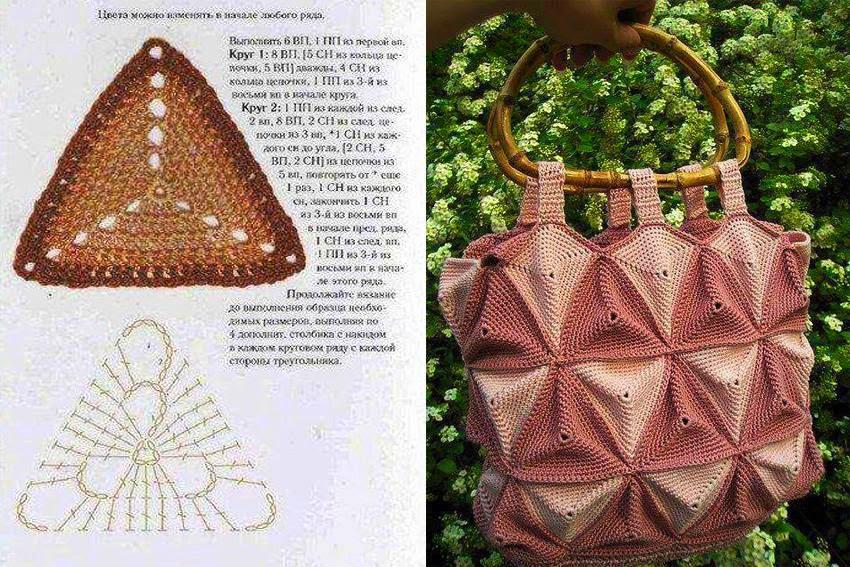 Idea para el día de la madre: bolso tejido con ganchillo con grannys triangulares