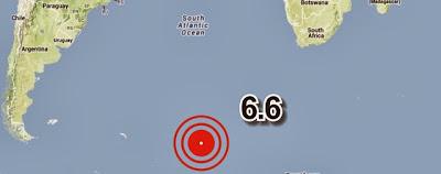 Fuerte terremoto de 6.6 grados impacto en islas Sandwich del Sur el 24 de octubre de 2013