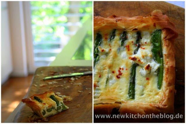 Tarte mit grünem Spargel und Fetakäse