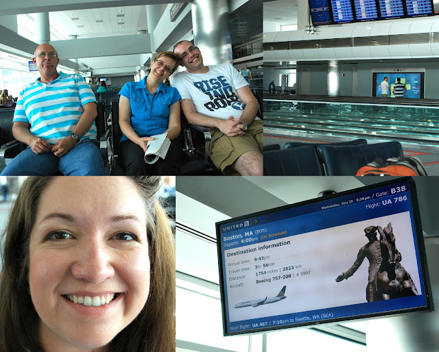 Four photos from the Denver Airport. Clockwise from the top left: Dad, Mom, and Shane sitting together--Mom and Shane smiling and Dad sticking his tongue out; Shane and B playing a matching game on a video board in the terminal; a video screen with information about our flight to Boston; and Megan's beautiful, smiling face.