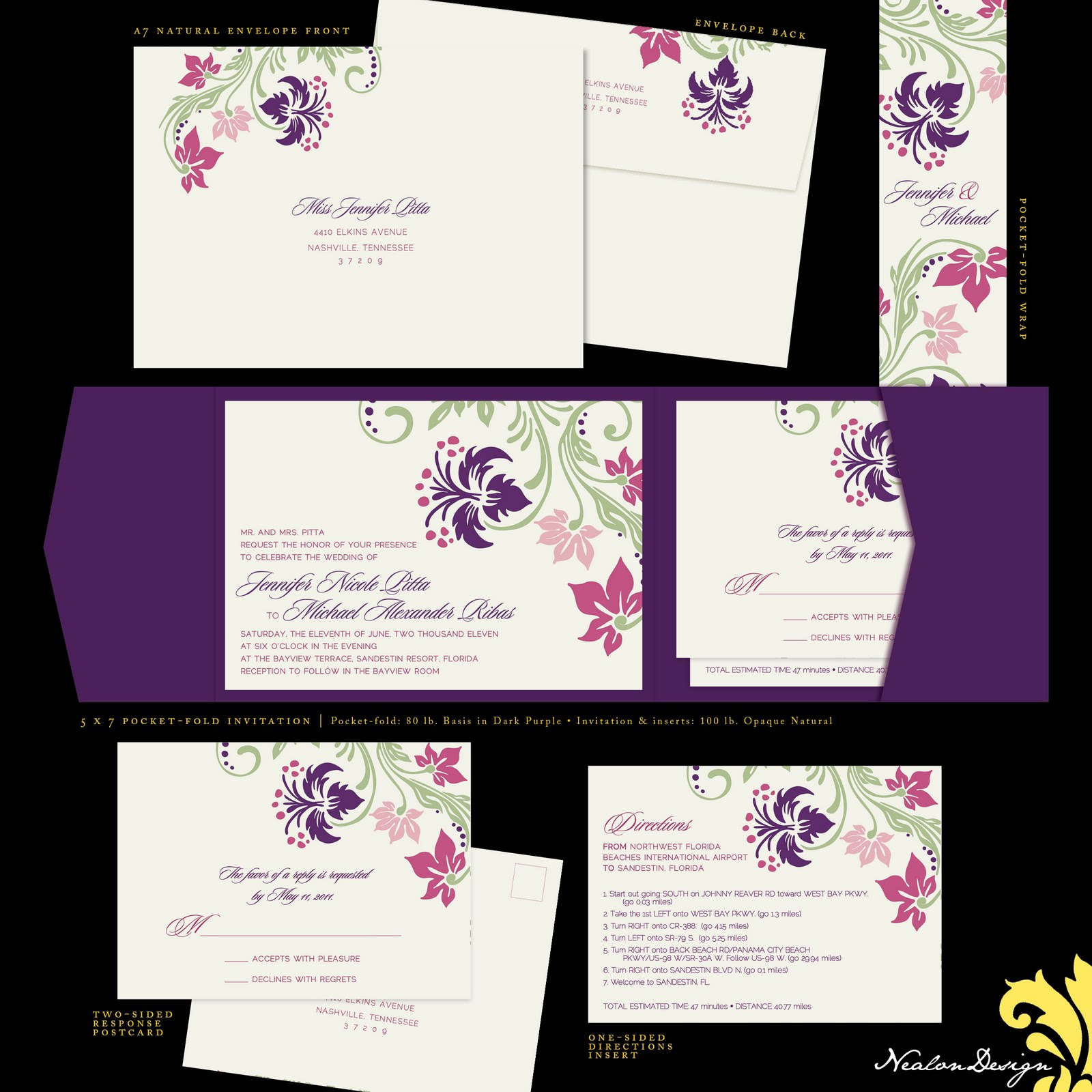 Nealon Design: Beachy Floral — Wedding Invitation Suite