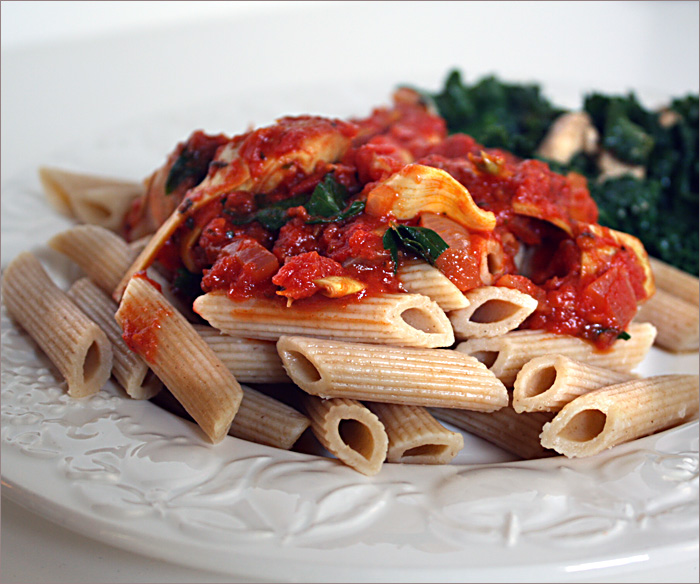 Tomatoes and artichoke hearts with pasta ( adapted from a recipe by ...