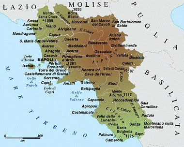 Campania Map Political Regions Italy Map Geographic Region