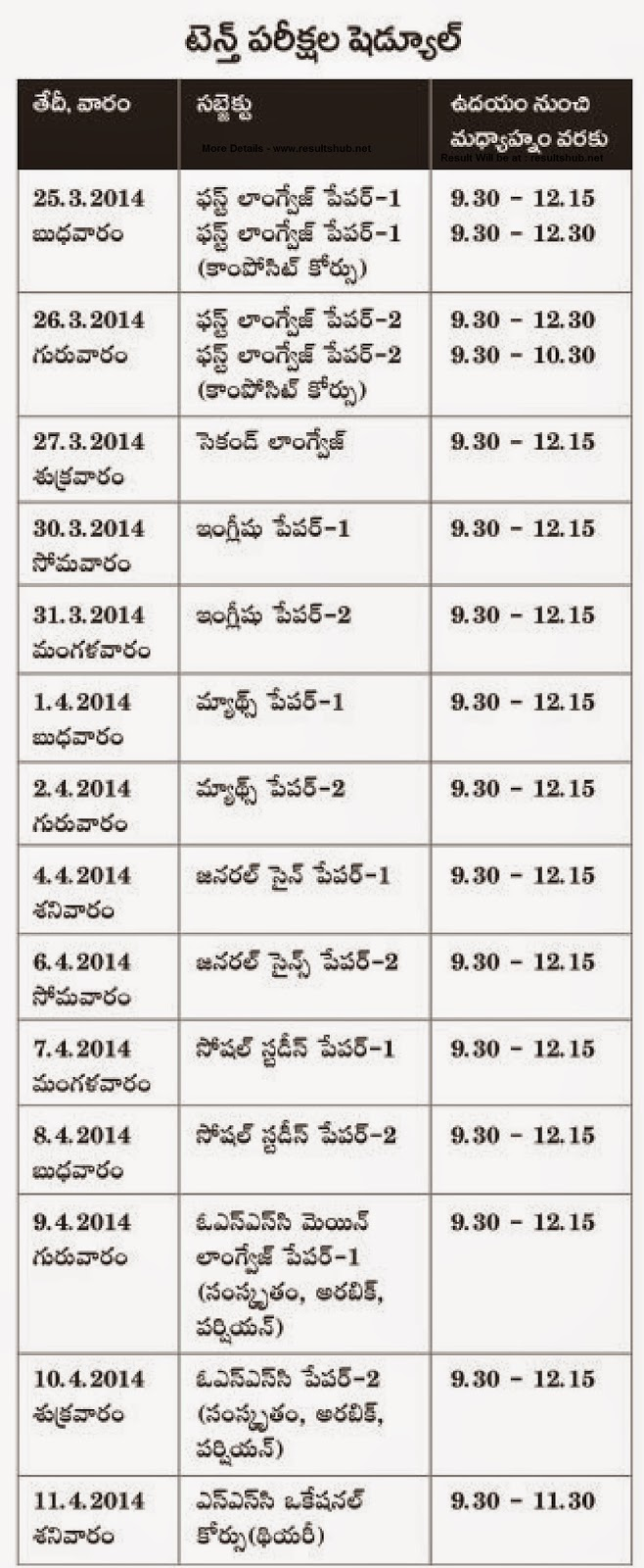 Telangana Board SSC March 2015 Timetable