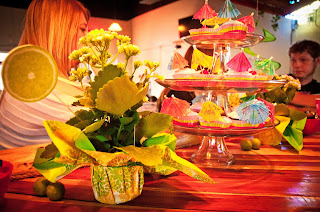 Tropical flower arrangements from Kroger - True Blue Style Event Planning