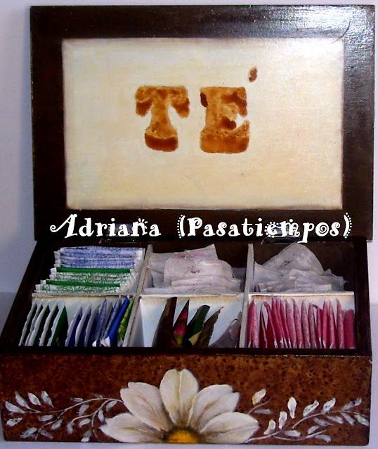 Interior caja de té con leyenda