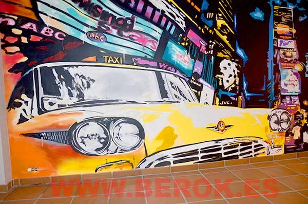 Graffiti mural taxi New York