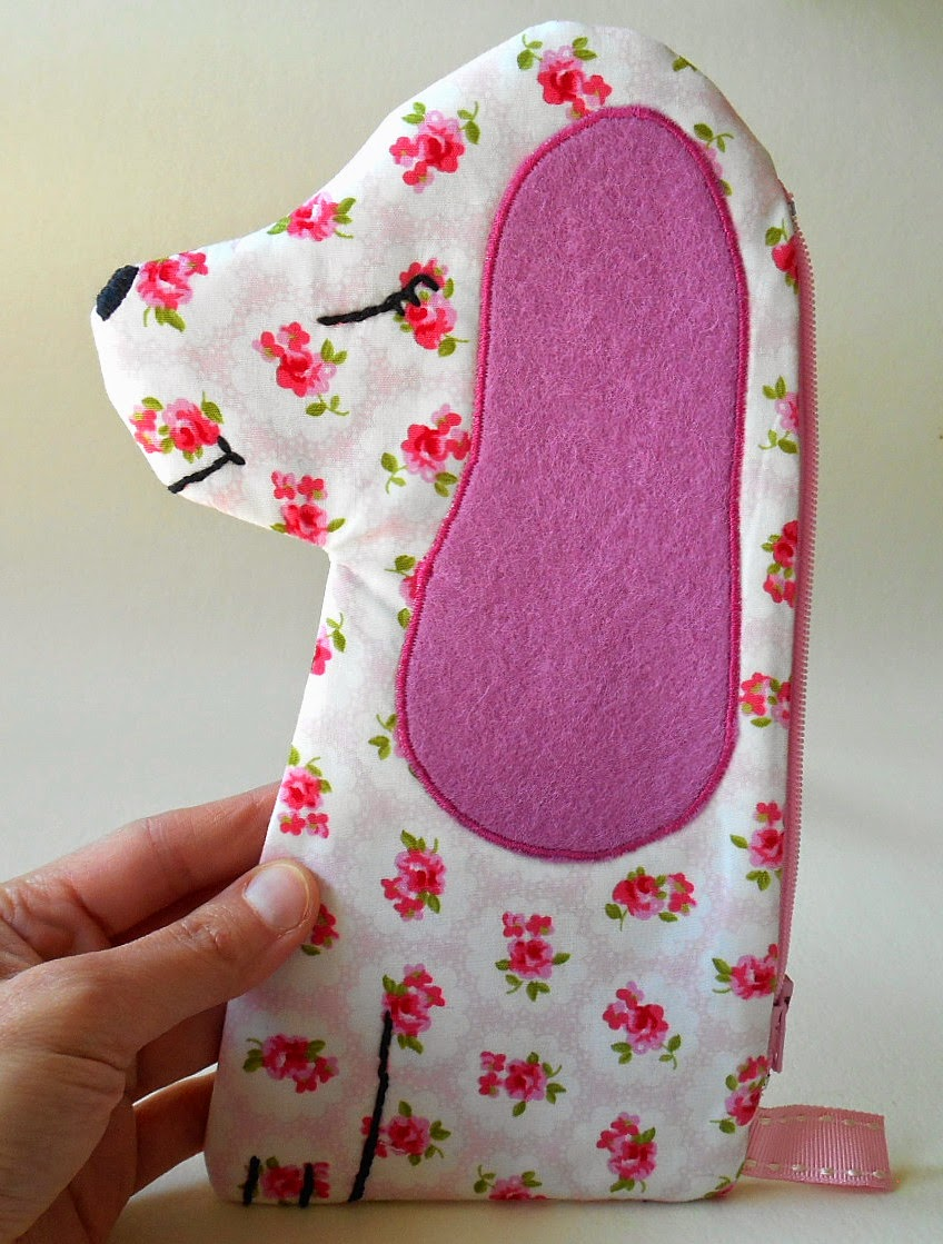 Cocker Spaniel Floral Pencil Case Pink Ears with Pencils