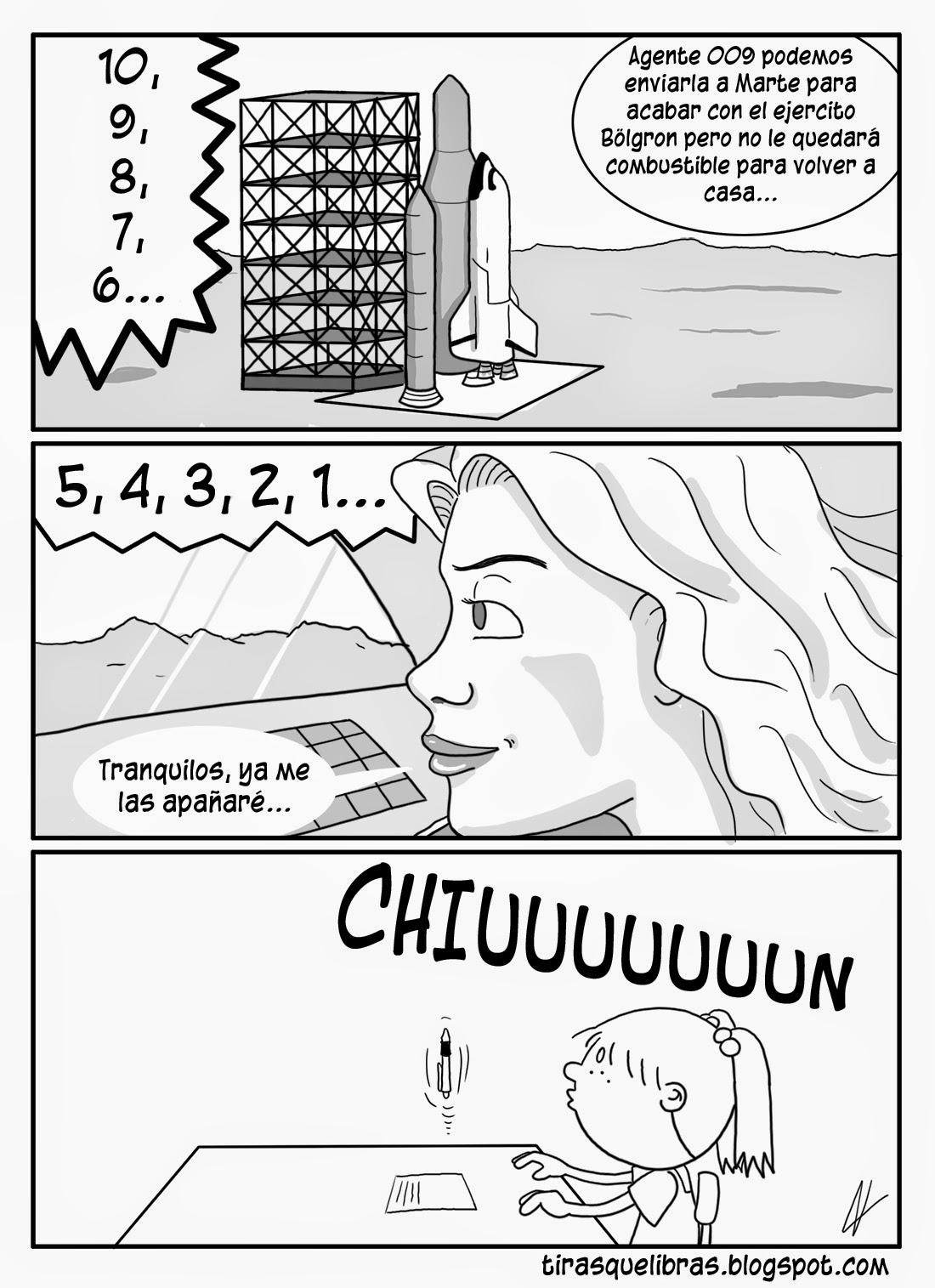 webcomic jen, Una misión de la agente 009 yendo en cohete a Marte es en realidad Jen jugando con el boli