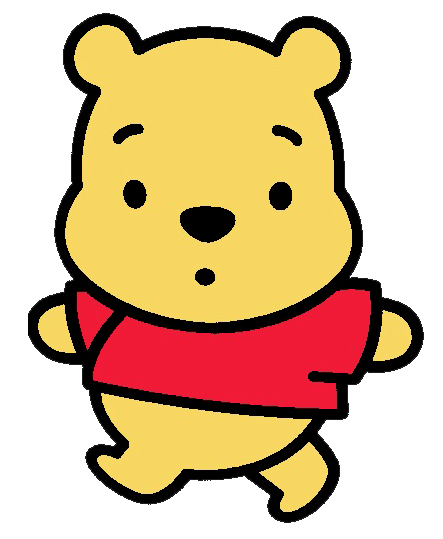 Desenho Pooh baby fofinho colorido com fundo transparente