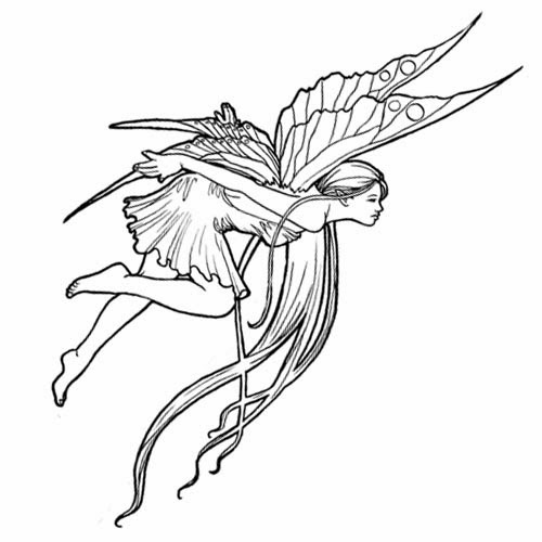 Flying fairy long hair tattoo stencil