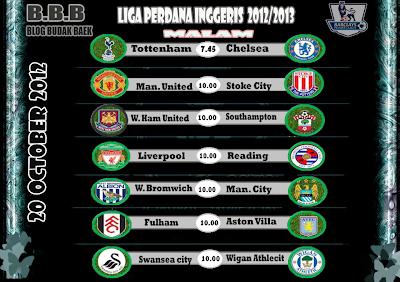 Live Streaming Liga Perdana Inggeris (EPL) 20 Oktober 2012