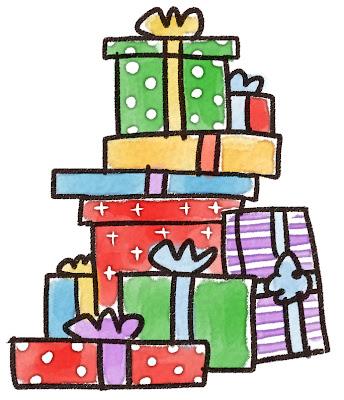 山積みのプレゼントのイラスト(クリスマス)