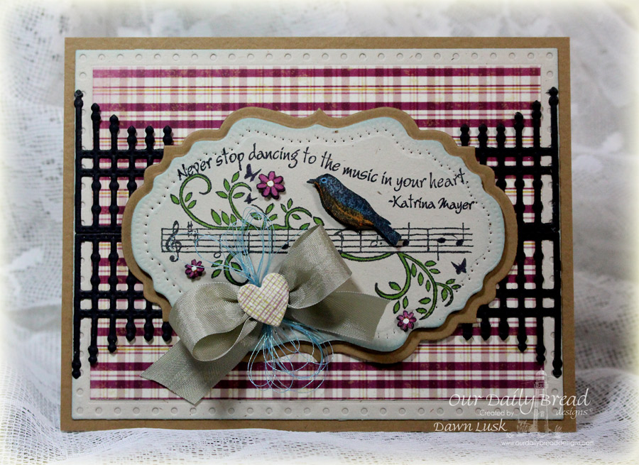 Stamps - Our Daily Bread Designs Music Speaks, ODBD Custom Faithful Fish Pattern Die, ODBD Custom Vintage Flourish Pattern Die, ODBD Custom Vintage Labels Die, ODBD Custom Gilded Gate Die, ODBD Custom Ornate Hearts Dies, ODBD Rustic Beauty Paper Collection