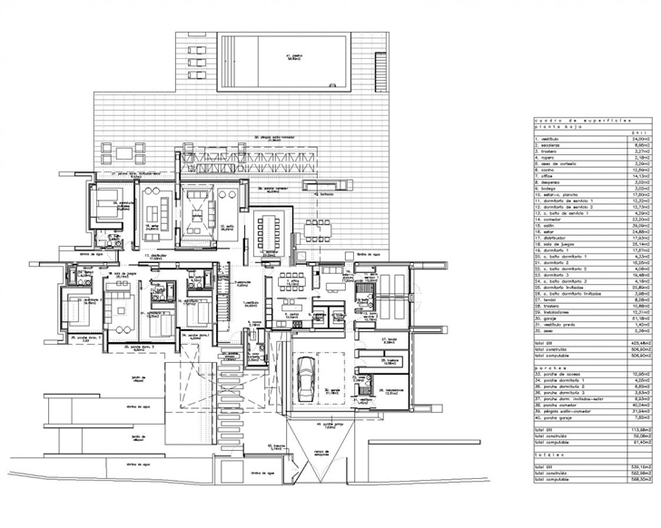 Ground floor plan of Sotogrande House by A-Cero Architects