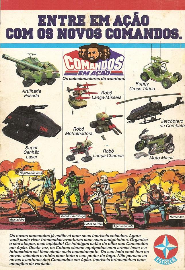 Propaganda dos veículos da série Comandos em Ação, da Estrela, apresentados nos anos 80.