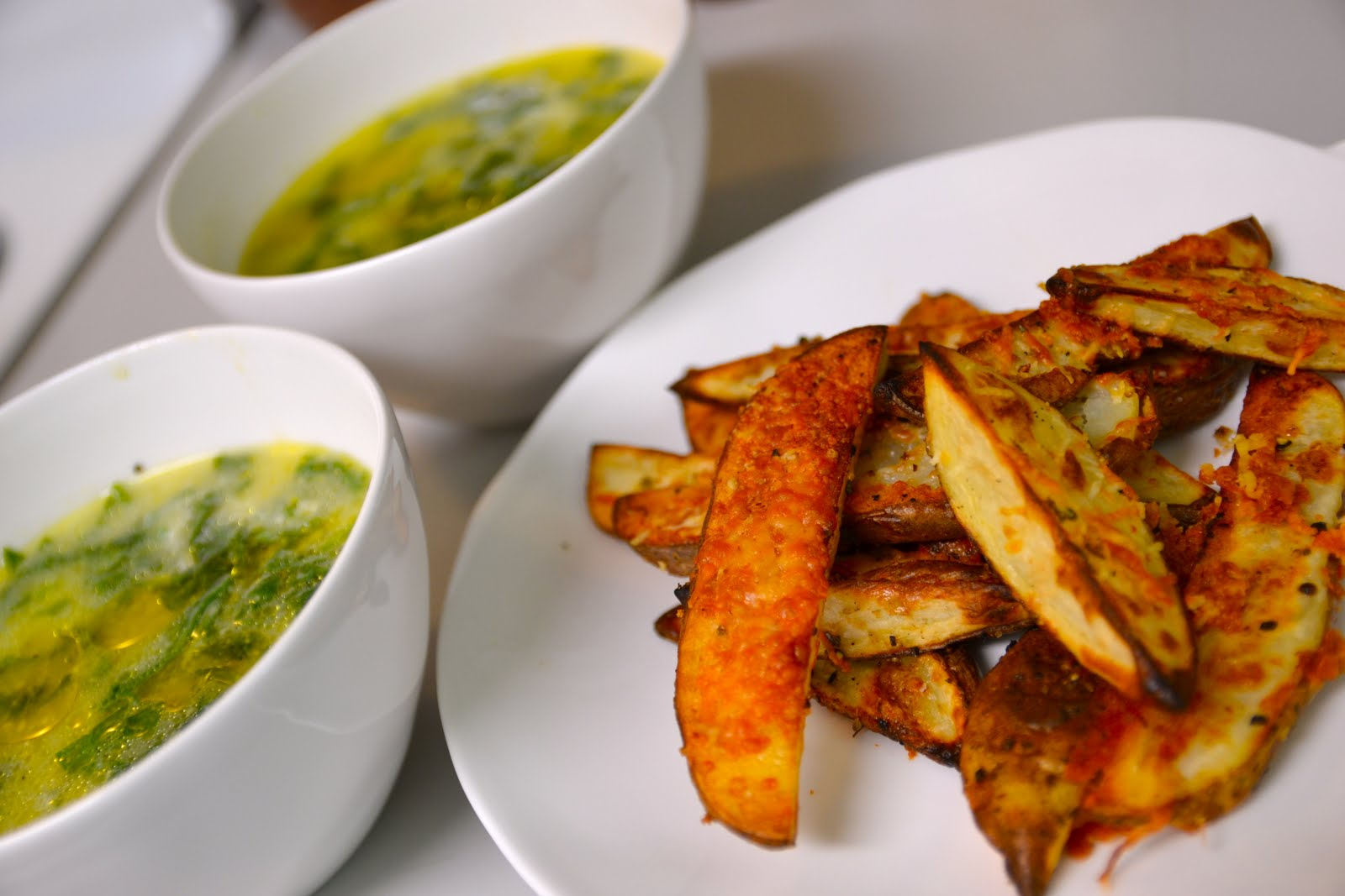 ... Amateur Cook: Polenta and Spinach Soup with Herb and Cheese Oven Fries