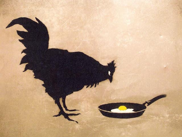 Spejl-æg, kylling og æg i stegepande - Chicken and Egg - Banksy